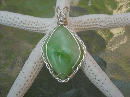 One of a Kind Apple Green Quartz Pendant in Silver Setting