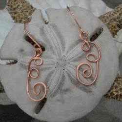 Copper Curly Q Earrings